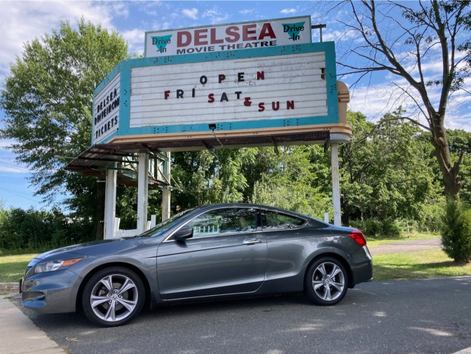 Delsea Movie Theater Drive-In entrance, with 2012 Honda Accord parked in front.