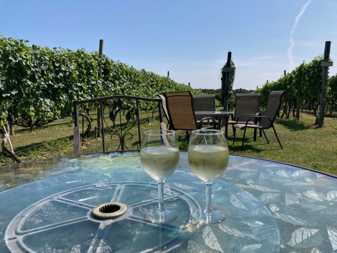 Two glasses of wine on glass table, with vineyards in background.