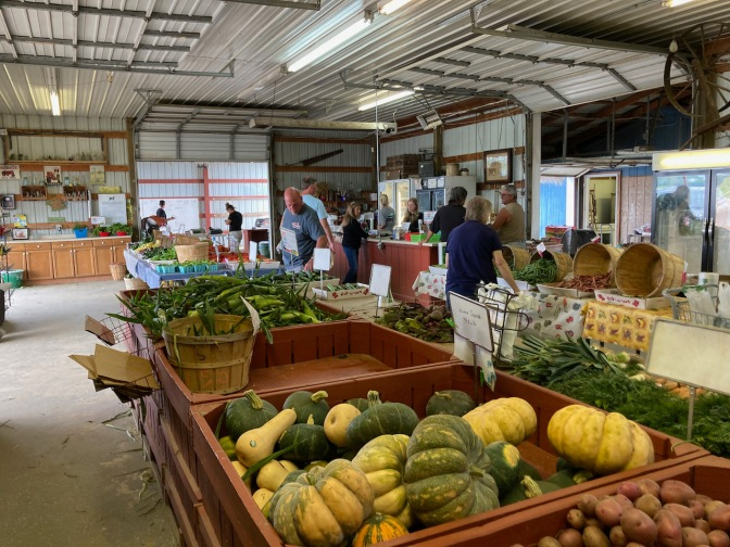 Inside of farm stand.