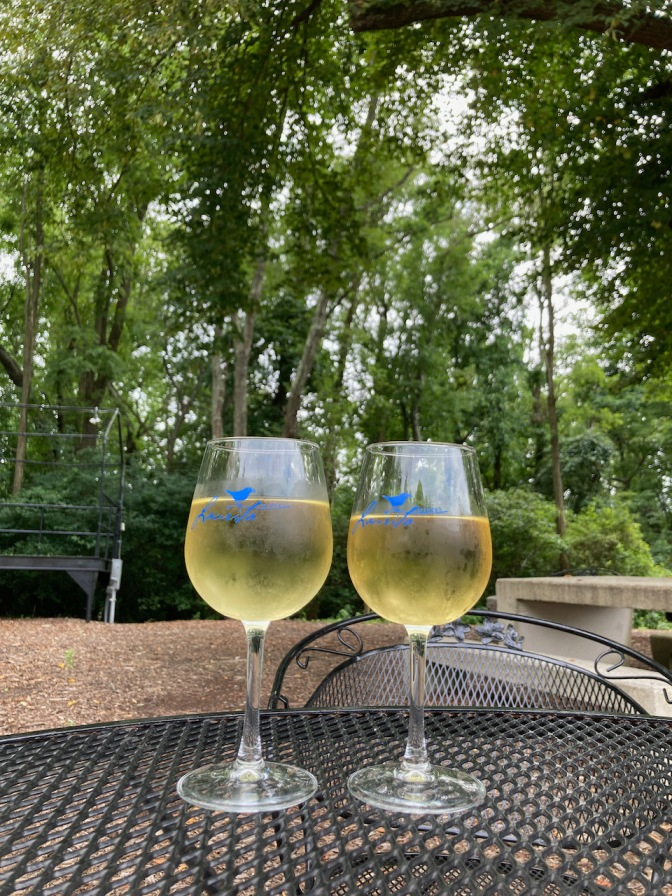 Two glasses of white wine on table, with trees in background.