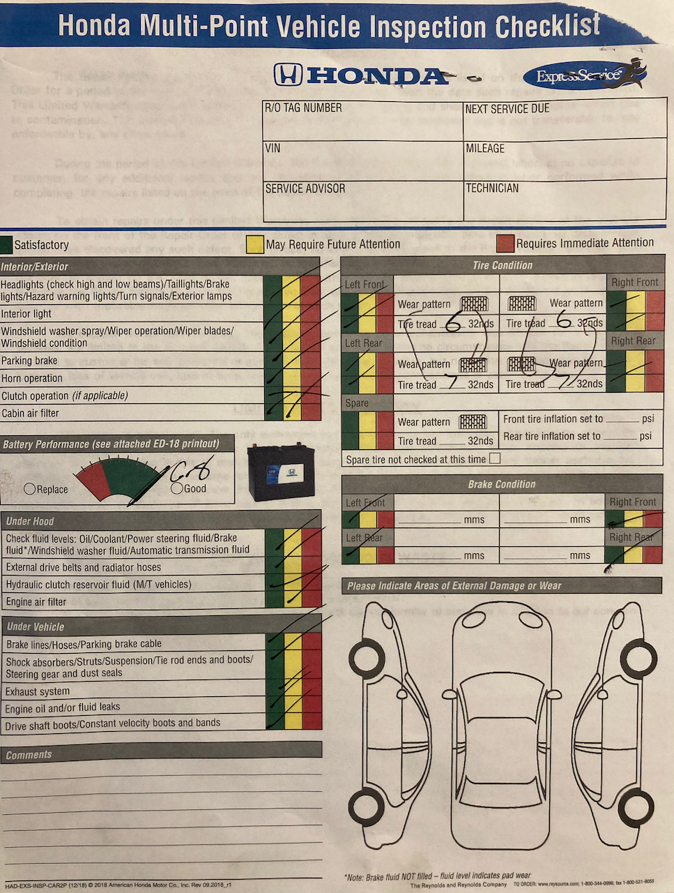 Vehicle inspection report with green marks on all fields.