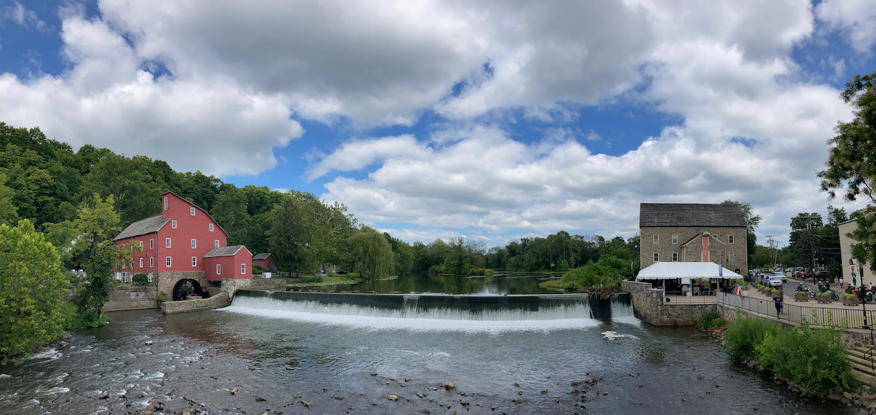 Panorama of Red Mill, South Branch Raritan River, and Clinton NJ.