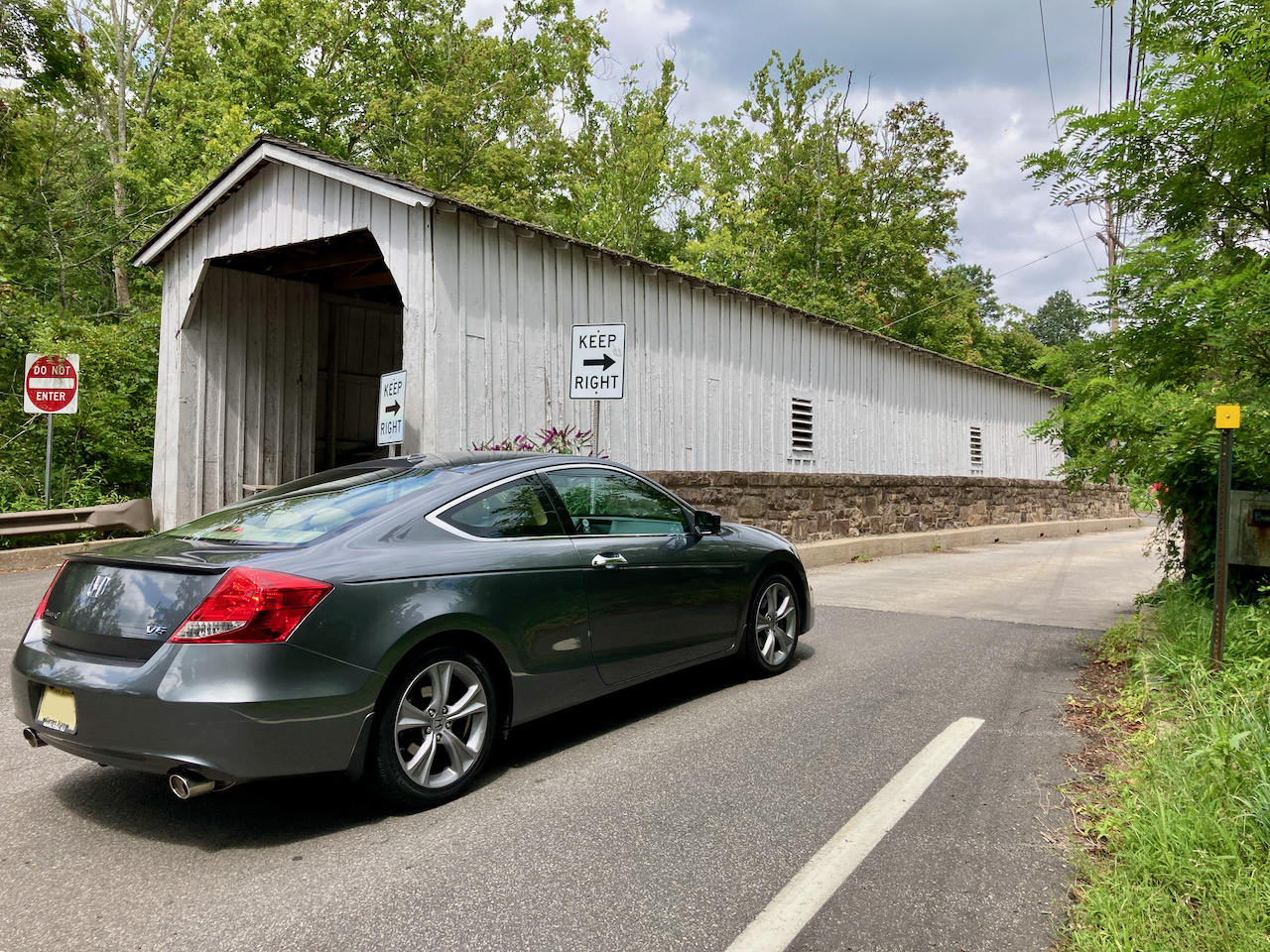 2012 Honda Accord coupe parked in front of Green Sergeant's Covered Bridge.
