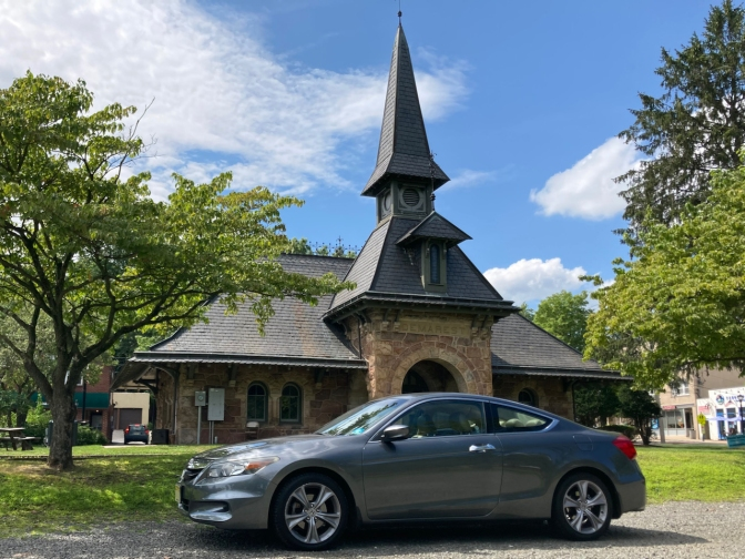 2012 Honda Accord parked in front of Demarest Railroad Depot.