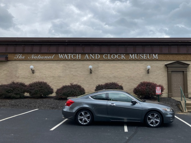 2012 Honda Accord parked in front of National Watch and Clock Museum.
