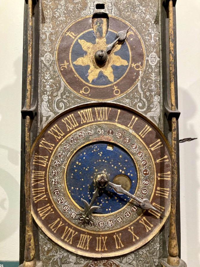 Chamber Clock with two dials: one for time, the other for lunar cycles.