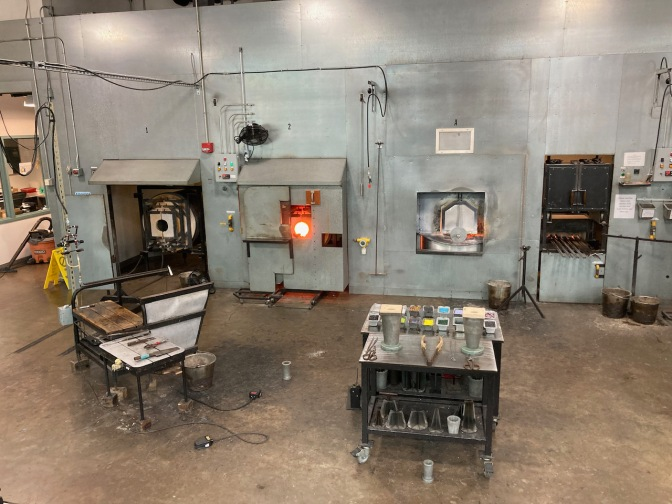 View of glass blowing studio.