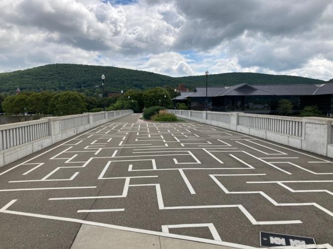 Maze painted on pedestrian Bridge.