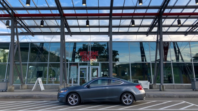 2012 Honda Accord parked in front of Welcome Center for Corning Museum of Glass.