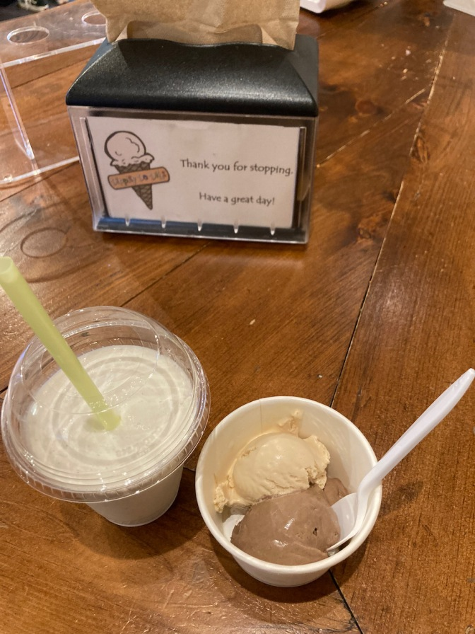Milkshake, and small dish of ice cream, on counter.