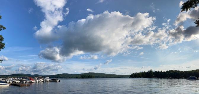 Panorama of lake in Adirondacks.