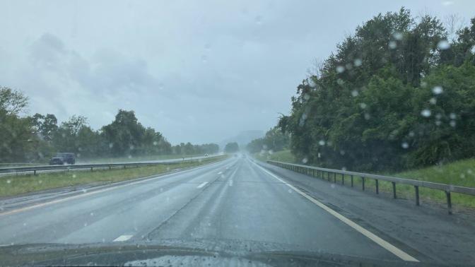 View of New York Thruway through rainstorm.