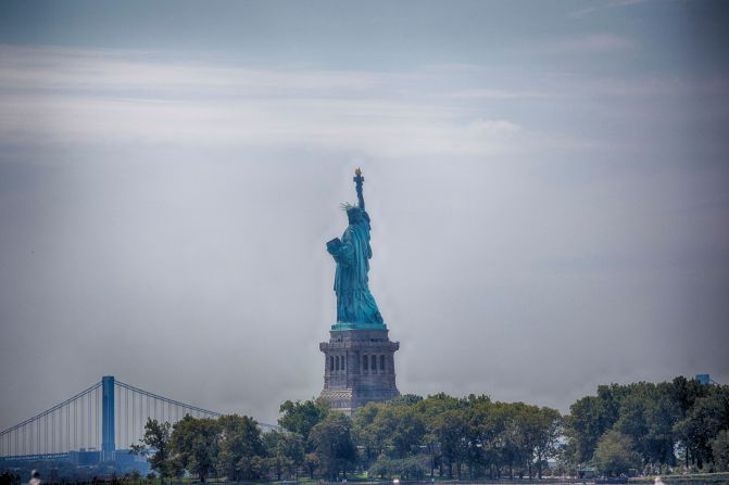 Rear view of Statue of Liberty.