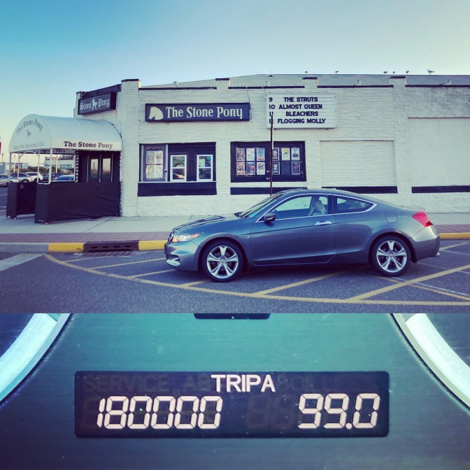 2012 Honda Accord parked in front of Stone Pony, and in lower half of image is odometer reading 180000 miles.