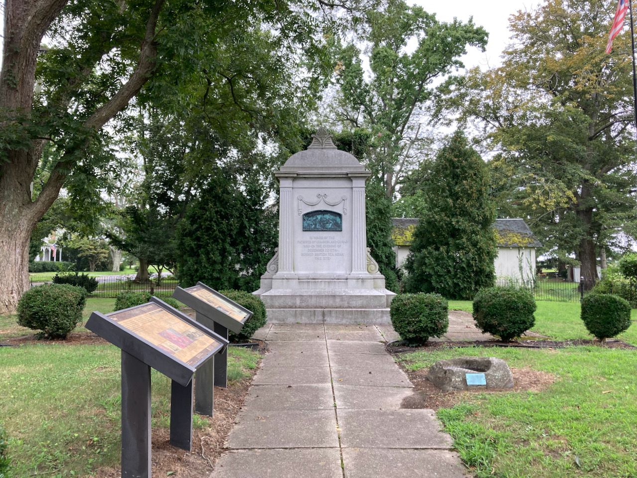 Small park with monument to NJ Tea Party.