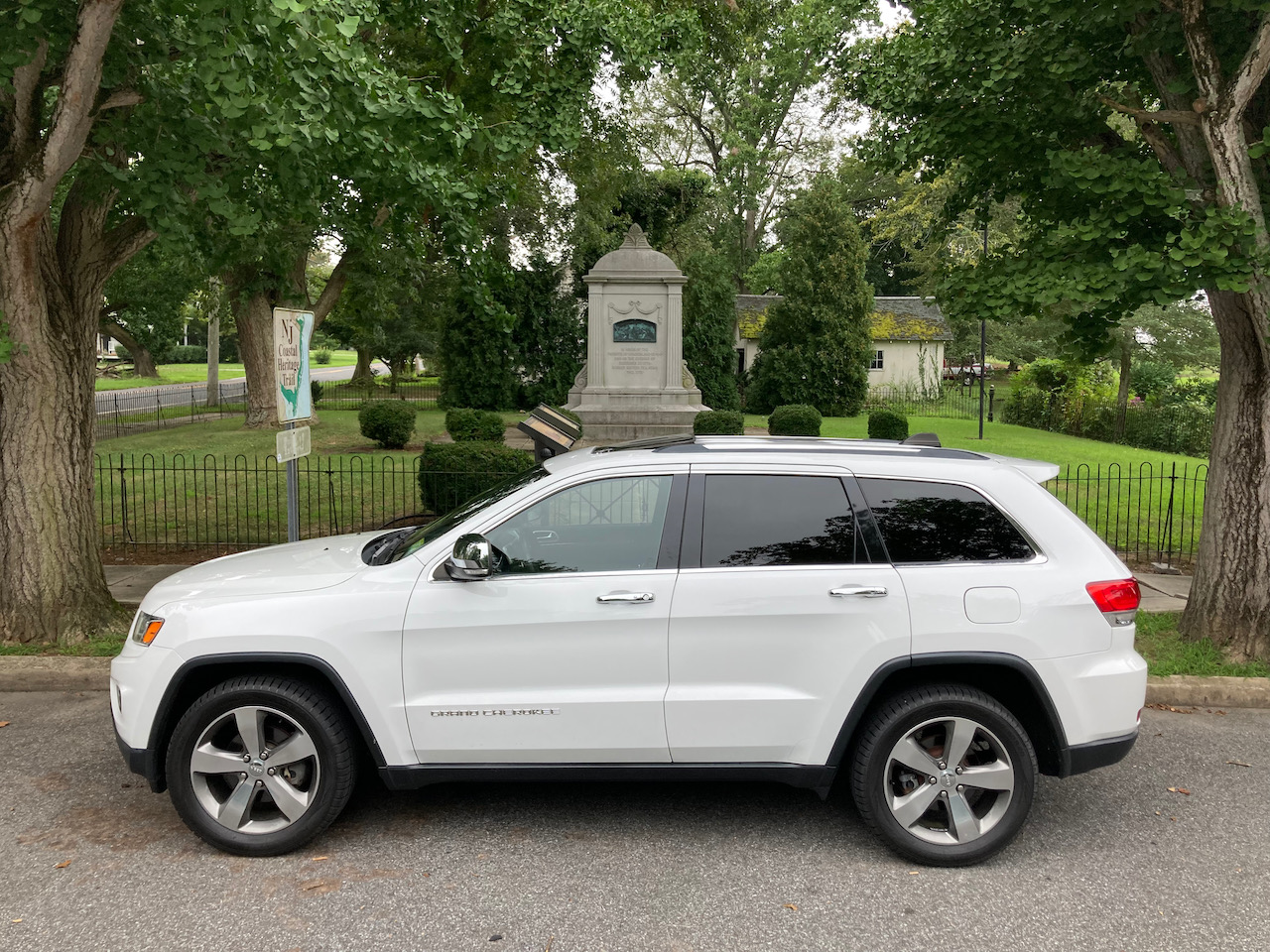 2014 Jeep Grand Cherokee parked in front of NJ Tea Party Monument.