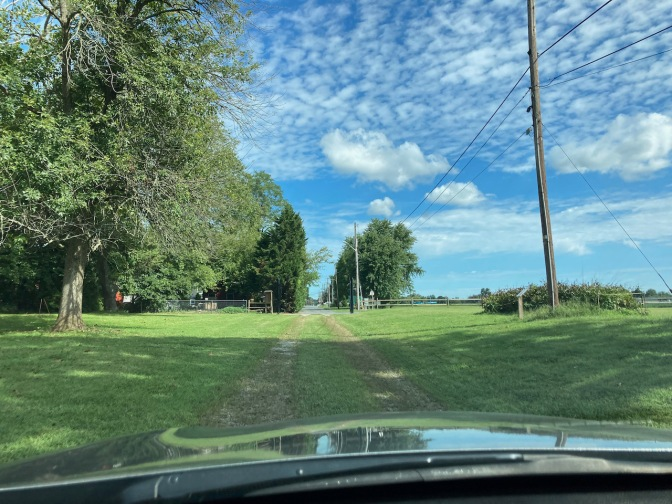 Honda Accord, driving through grassy driveway.
