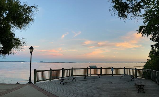 Promenade along Chesapeake at sunset.