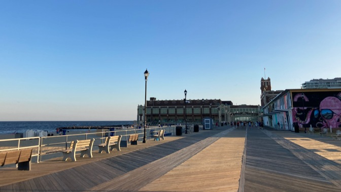 View of Asbury Park Convention Hall and Atlantic Ocean.