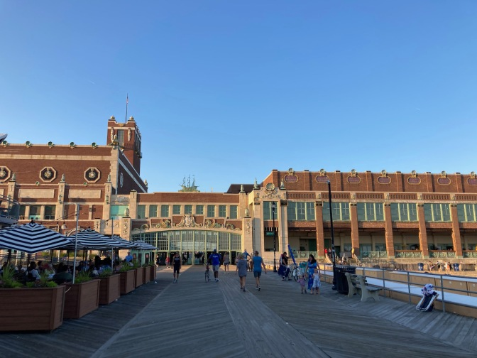 Asbury Park Convention Center, with patio seating at restaurant on left side of screen.