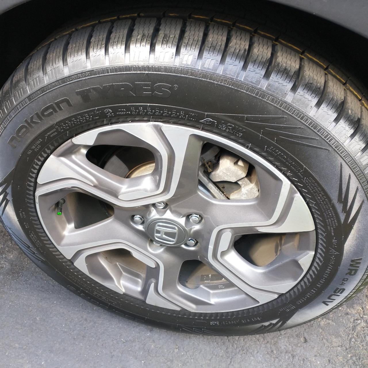 Nokian WR G4 tires on Honda CR-V wheel.