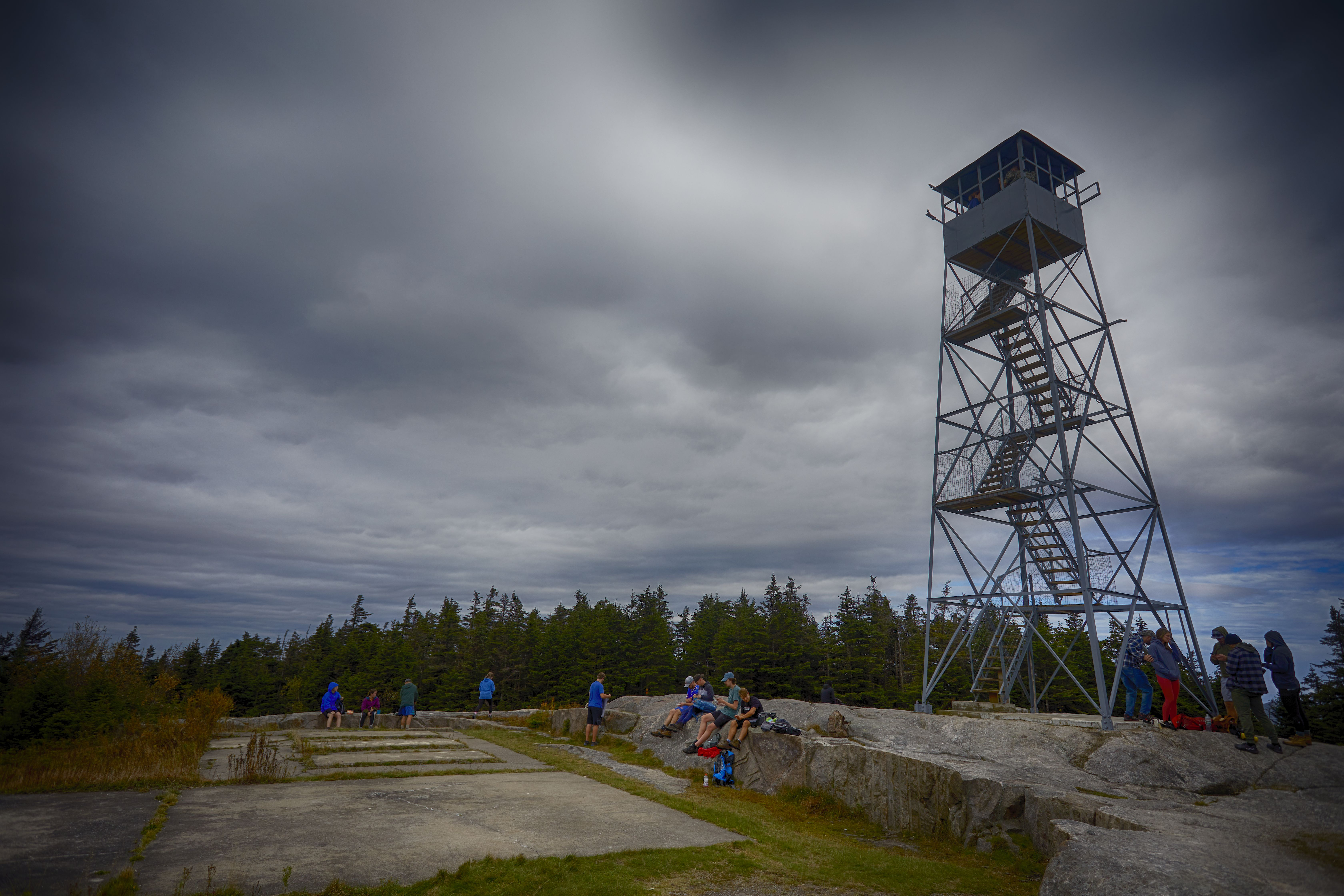 View of Blue Mountain Fire Tower at summit.