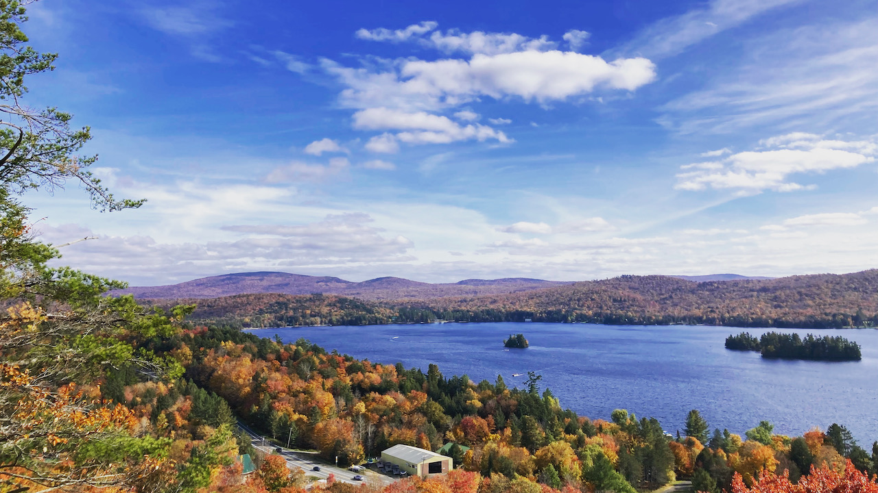 View of Fourth Lake and Inlet, NY from atop Eagle Cliff.