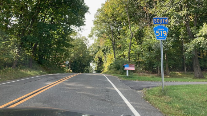 Sign marking Sussex County 519 South.