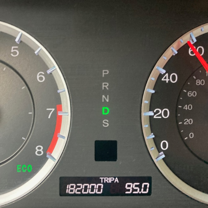 Car odometer reading 182000 TRIP A 95.0