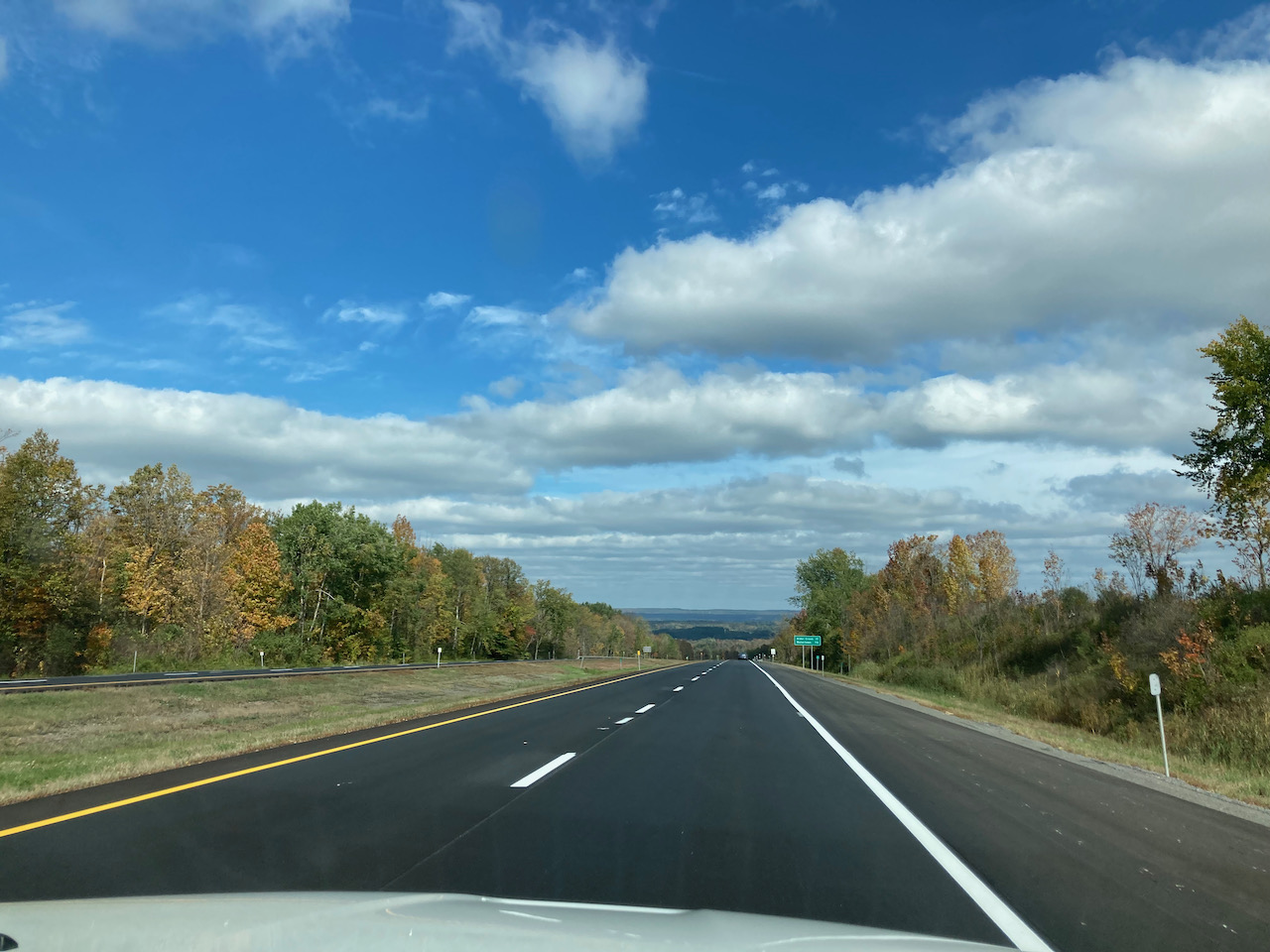 View of NY28 under a blue sky.