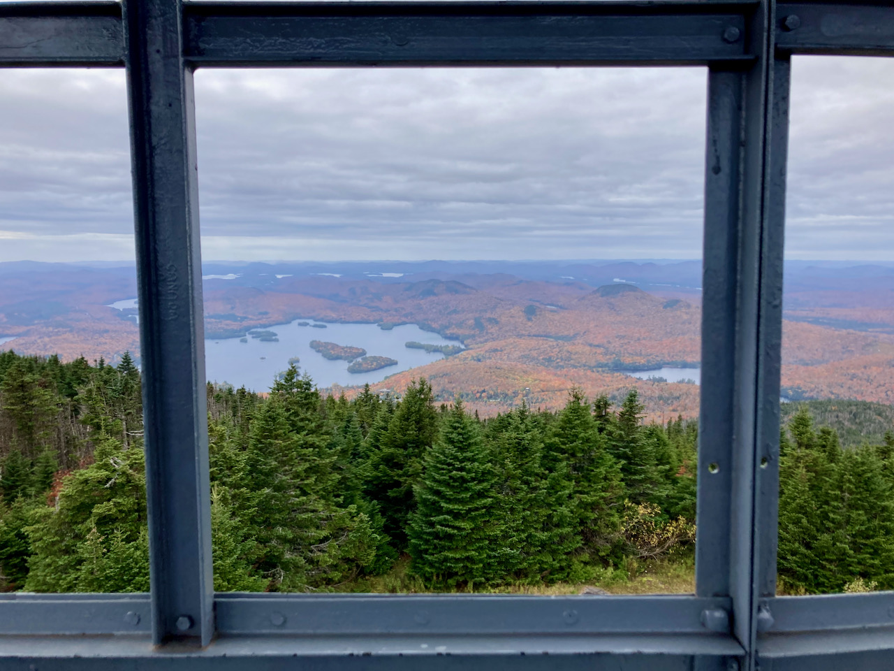 View of surrounding countryside through windows of Fire tower.