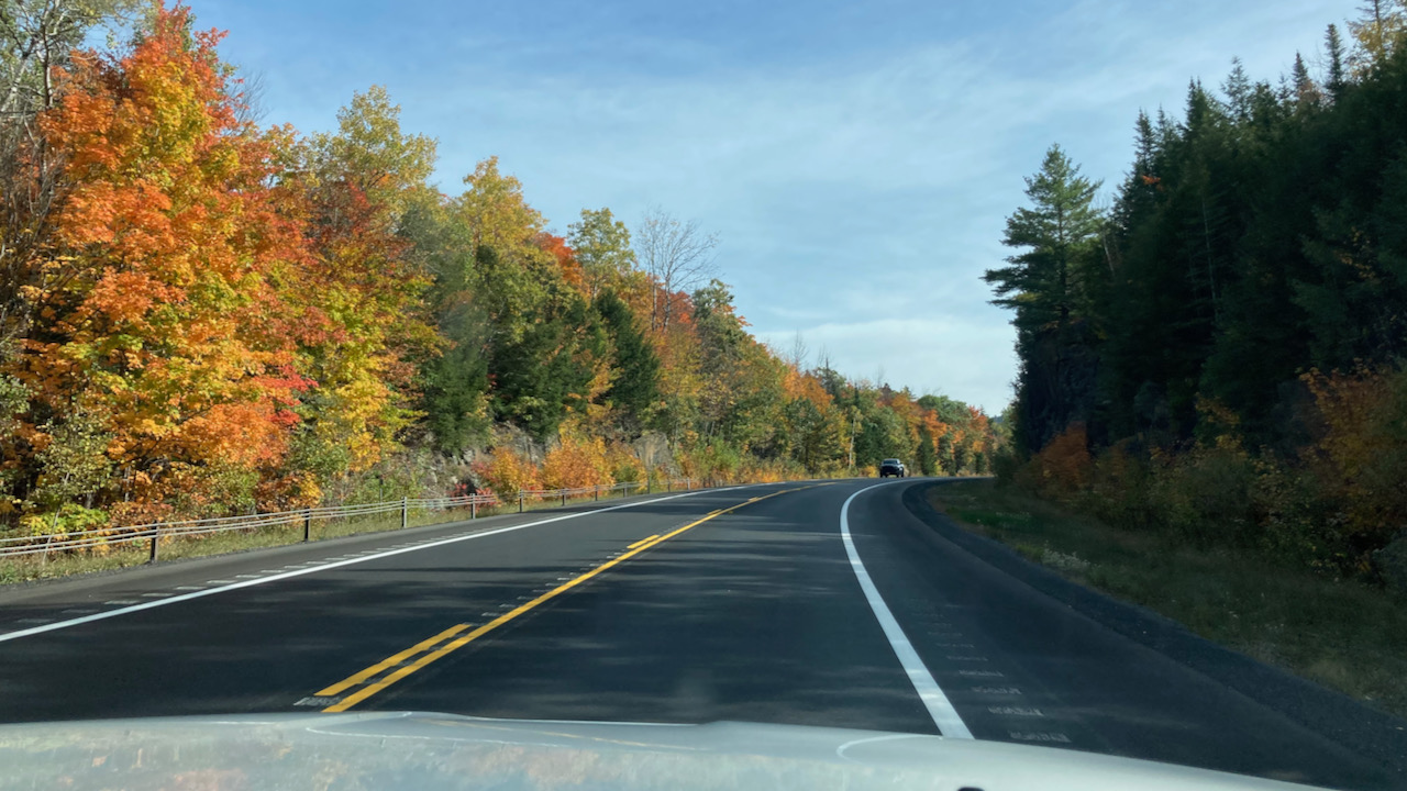 View of fall foliage along Route 28.