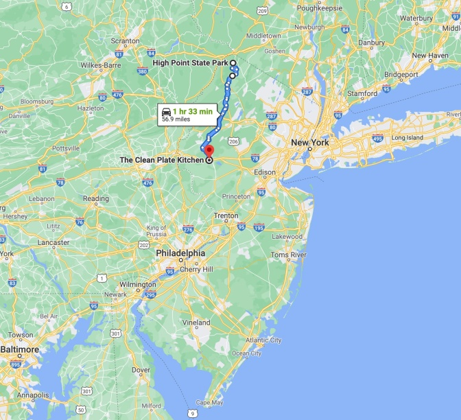 Map of New Jersey with blue route line running from High Point State Park to The Clean Plate Kitchen in Clinton, NJ.